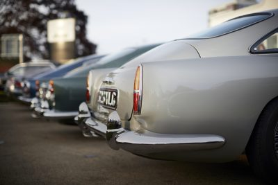 Aston Martin launch event: A row of classic Aston Martin cars
