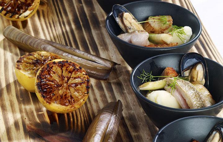Bistro style bouillabaisse, leek tempura and fennel mash