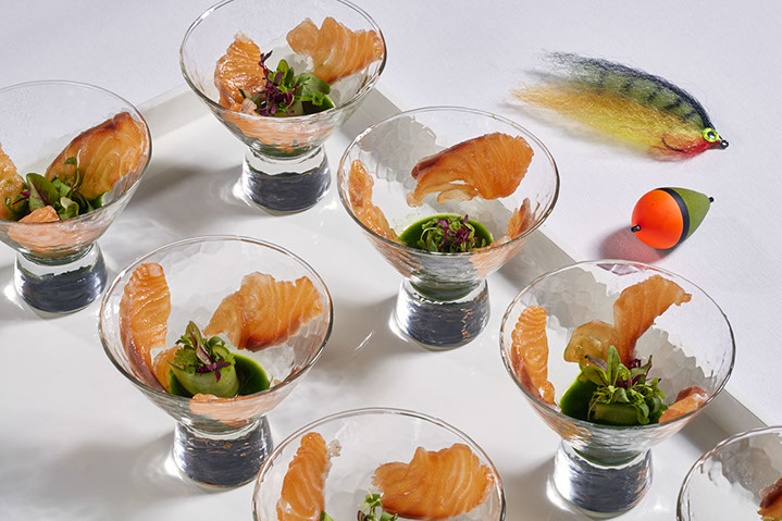 Gin cured scottish salmon, watercress consomme and spring shoots
