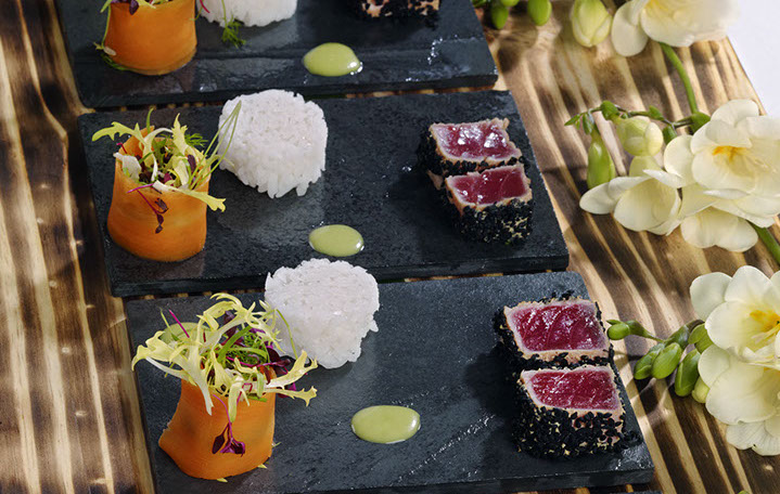 Rare spiced tuna, asian slaw and japanese sticky rice, wasabi oil