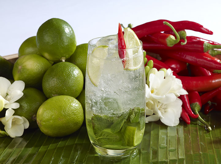 Lime and jasmine mojito with lychee
