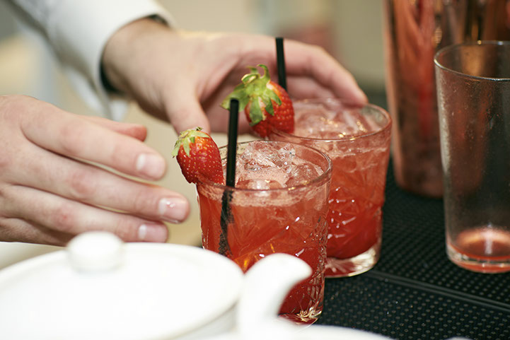 Strawberry and elderflower caipirinha