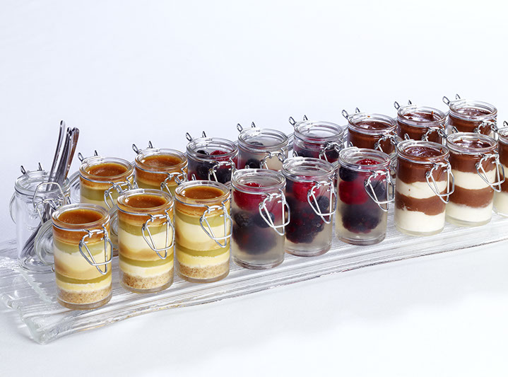 kilner jar deserts, raspberry elderflower jelly, chocolate parfait, toffee apple delice