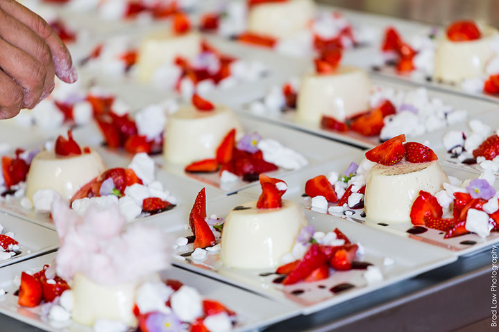 White chocolate panna cotta, surrey strawberries, crushed meringues
