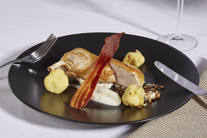 s roasted guinea fowl, cauliflower textures, puffed wild rice and bacon2 copy