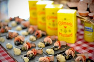 canapes with coleman's mustard
