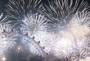 New years eve party: Fireworks over the London eye